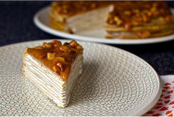 Блинный торт из бананов с йогуртом и глазурью из грецкого ореха… (9 фото) - картинка