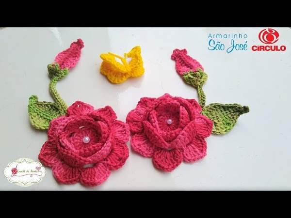 Flor, folhas, botão e borboleta para aplicação no jogo de banheiro ROSANA