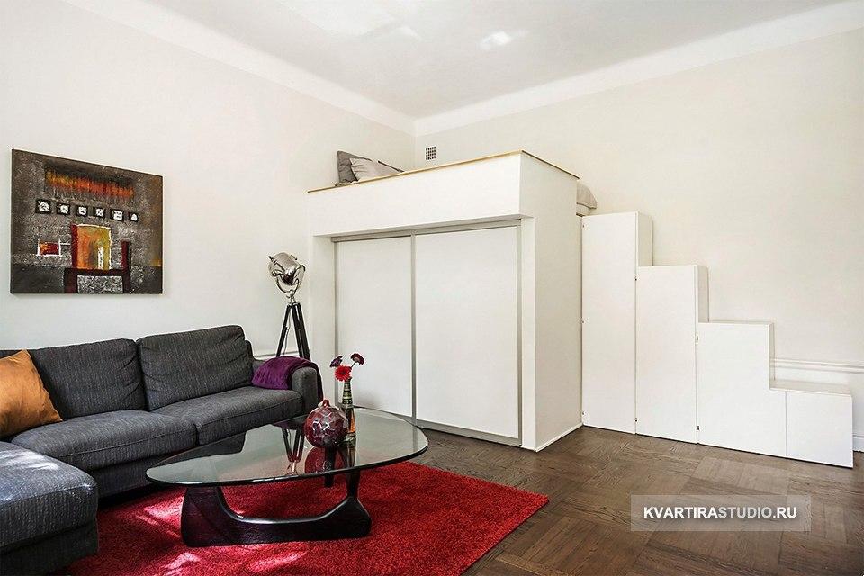 Кровать-чердак со шкафом / гардеробом внизу - http://kvartirastudio.