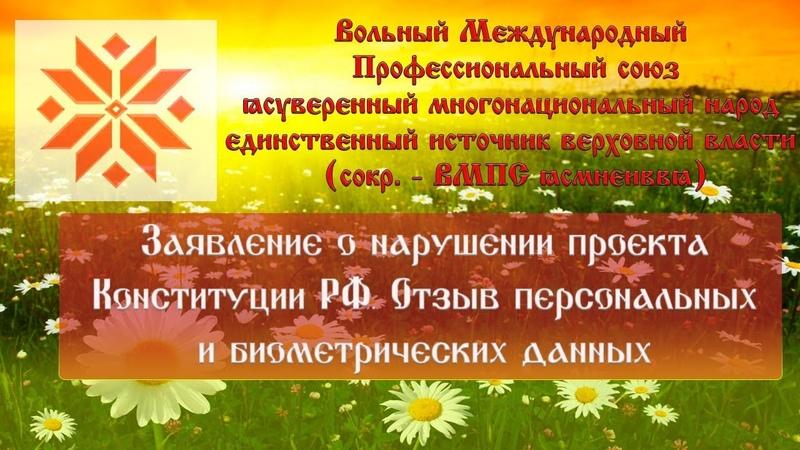 ВМПС | Заявление о нарушении проекта Конституции РФ. Отзыв персональных и биометрических данных