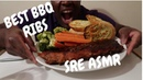 BBQ Ribs CHEEESY Garlic bread with Broccoli and Carrots Satisfying ASMR Eating Sounds. NO TALKING