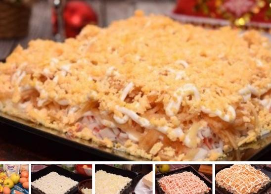 Салат «Ландыш» с крабовыми палочками и плавленным сыром.