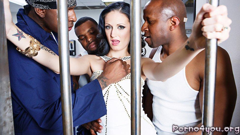 Три черных члена в сексуальной сучке