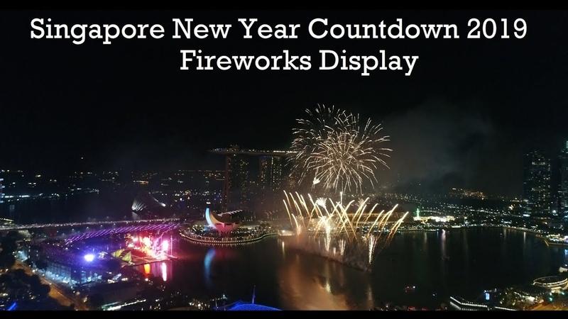 [4K] Singapore New Year Countdown 2019 Fireworks Display - Aerial Footage