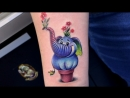 Тату мастер Катя Маслова small colored tattoo cute elephant and flowers Тату студия Дом Элит Тату Tattoo Studio Moscow