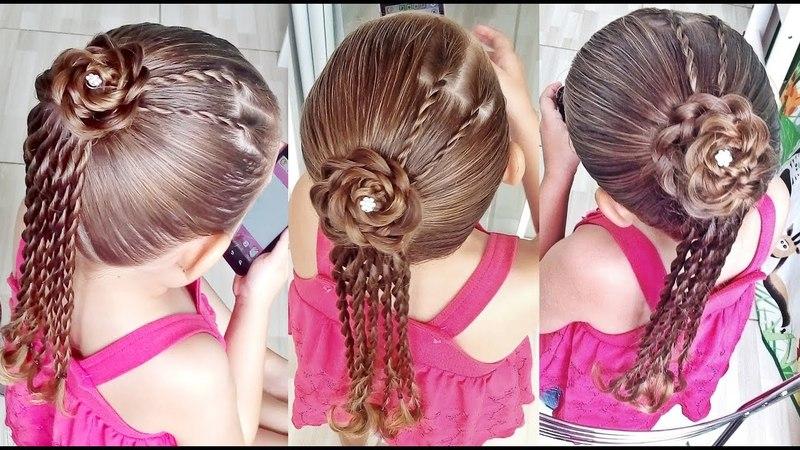 Penteado Infantil com tranças e flor de cabelo