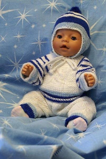 Вязание спицами для куклы беби анабель