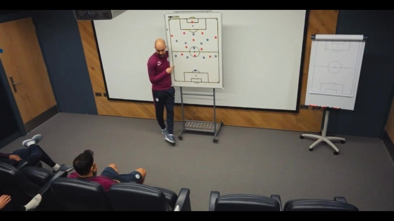 Watching the first episode of Man Citys All or Nothing. Here is Peps tactical talk before