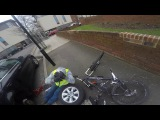 Cyclist crashes into man full video. what the F*** are you doing