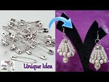 #99 Unique Diy Idea with Safety Pin Jhumkas making with Safety Pin -Innovative Idea-Jewelry Making