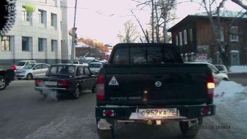28.02.2013 - Томск. Авария. ДТП. ВАЗ-2107 vs легковушка