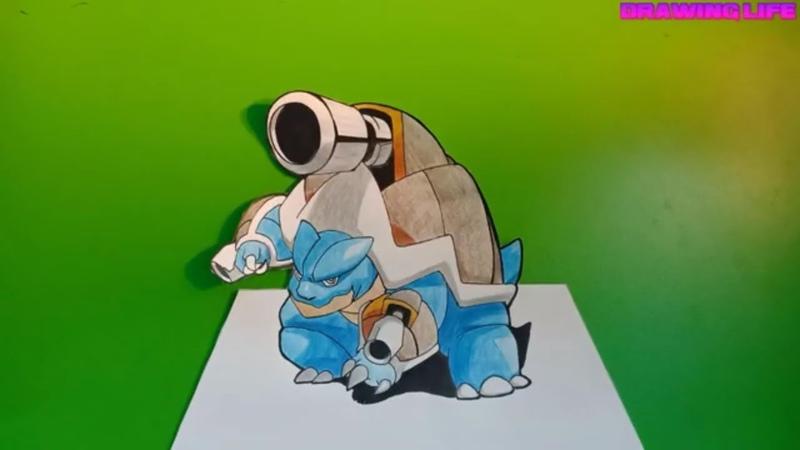 Hướng dẫn vẽ pokemon Rùa Mega Blastoise 3D-how to draw pokemon