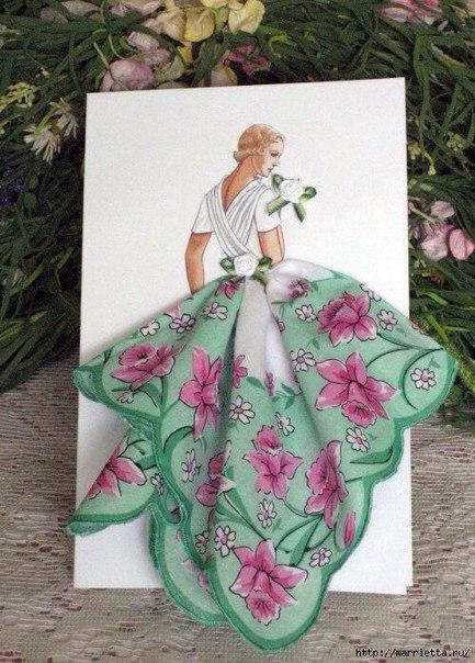 Авторские открытки с использованием платочков...