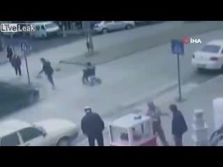 Car hits disabled person crossing crosswalk