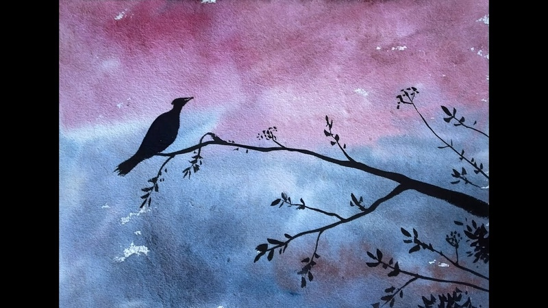 Easy Bird scenery drawing with Watercolor - step by step