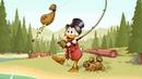 Картинка мультфильм. Лес, рыбалка, Scrooge McDuck, Duck Tales, золото, удочка, монеты, Disney.