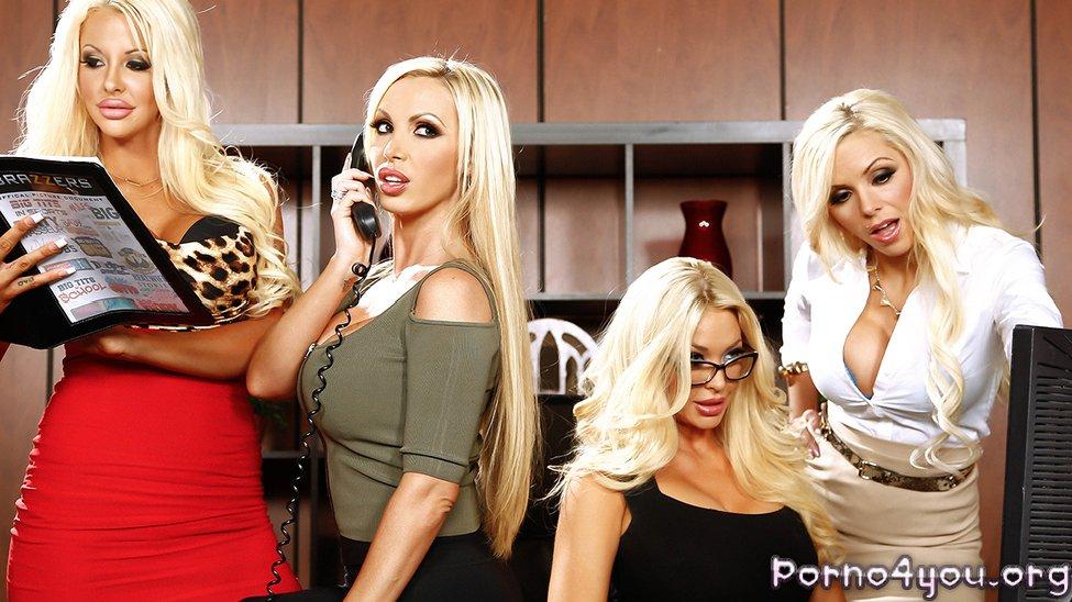 Групповуха в офисе 6 Блондинки на члене