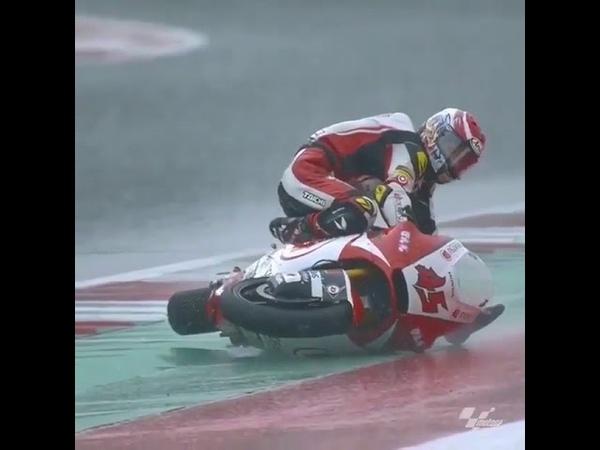 Japanese Moto-Racer Tetsuta Nagashima Surfs on His Bike After a Wreck