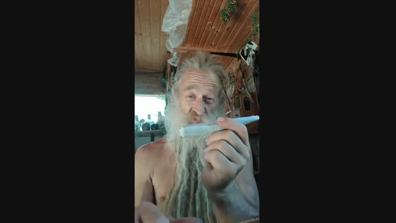 Old hippy from Germany smokes a thick joint with 11 85 grams