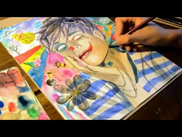 Don't stop imagining - Speed painting video (Рисунок акрилом)