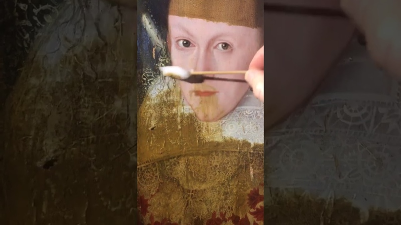 Philip Mould. Removing of yellowing varnish. Year 1618. Part 2