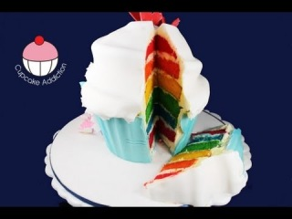 Make a Giant Rainbow Layer Cup Cake! A Cupcake Addiction How To Tutorial
