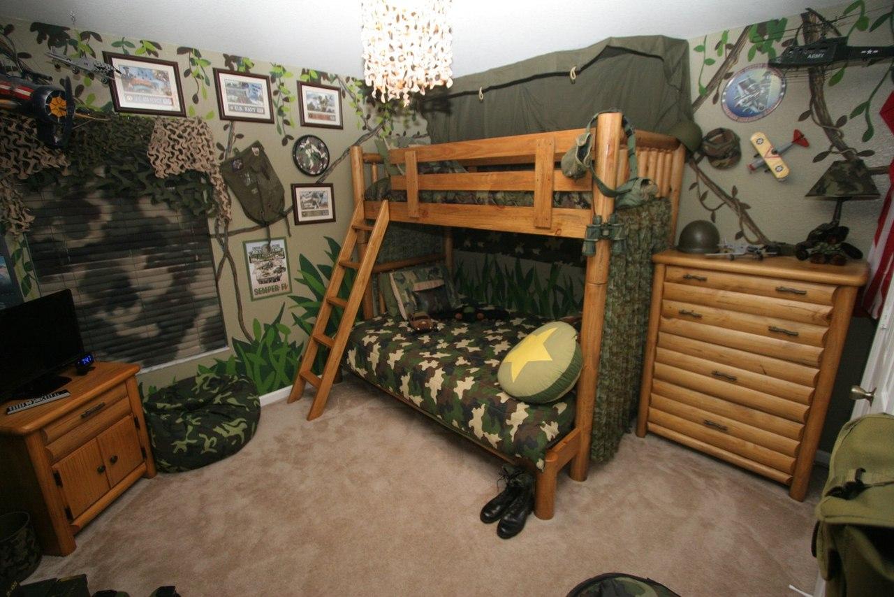 Детская в стиле милитари, дизайн интерьера в военном стиле, интерьер ВОВ