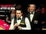 Ronnie O'Sullivan talks to Rob Walker after round 2 win