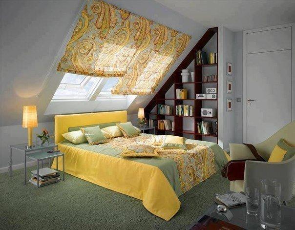 Спальня в мансарде (1 фото) - картинка
