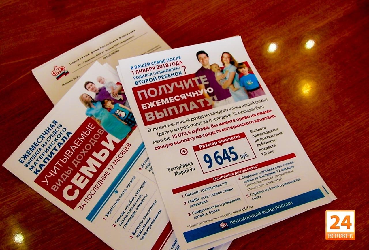 В 2018 году в Марий Эл на ежемесячную денежную выплату из средств материнского капитала направлено более 17 млн рублей
