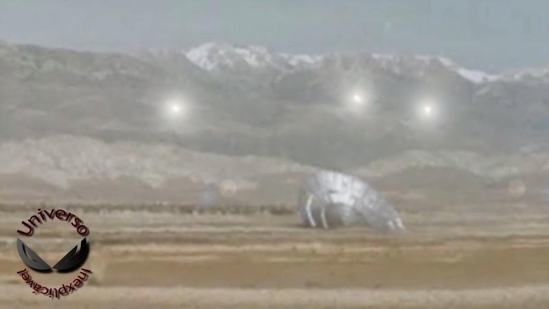 Gigantesco OVNI caído sendo protegido por pequenos UFOs Avistamento de 2018 UFO OVNIs
