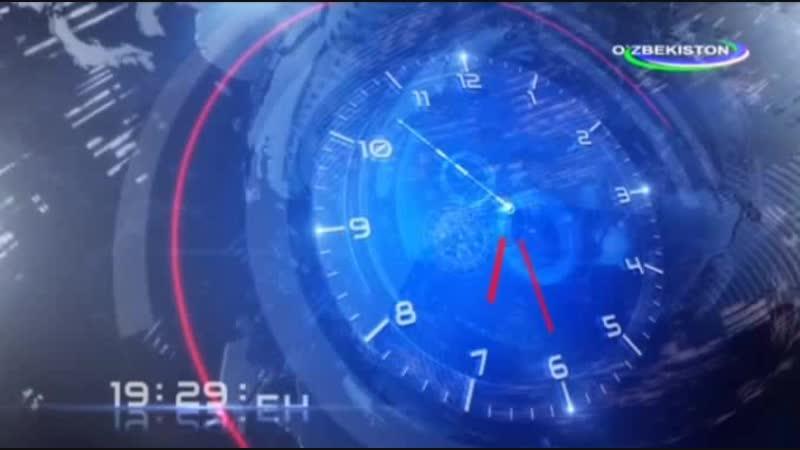 Часы и начало программы Тахлилнома на канале O`zbekiston (Узбекистан). 15.10.2017