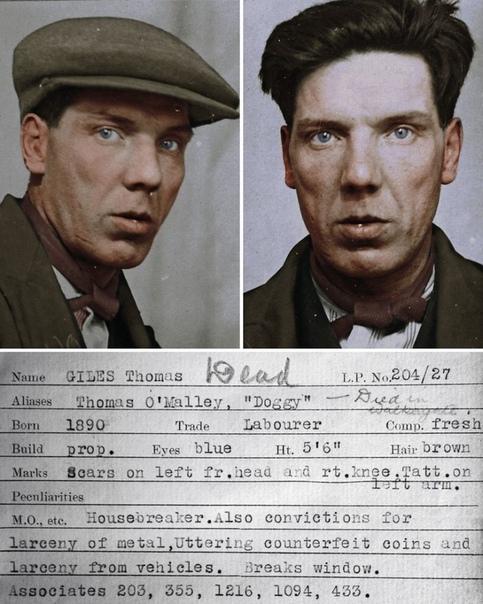 Фото и досье преступников 30-х.