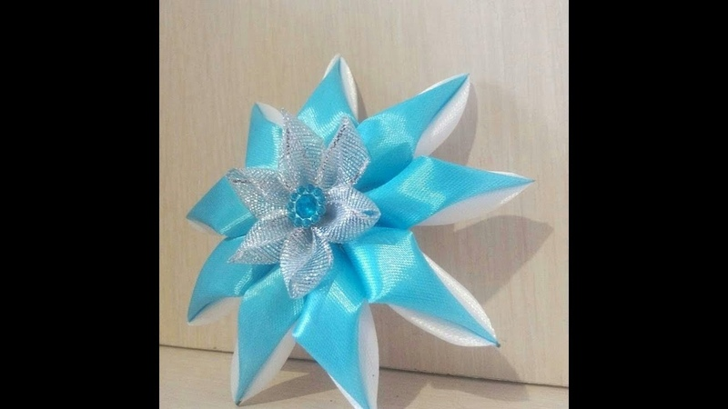 новогодний цветочек! канзаши\Kanzashi\satin ribbon decoration\satijnen lint decoratie