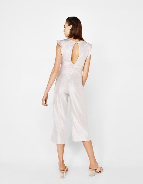 Комбинезон с брюками-кюлотами, из металлизированной ткани