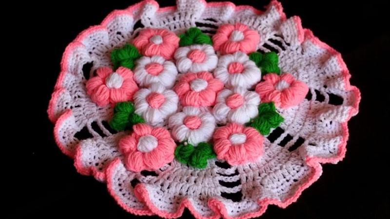 WOW Woolen rumal Design    HOW TO MAKE RUG TABLE MAT WOOLEN FLOOR MAT    Woolen Crochet   DIY