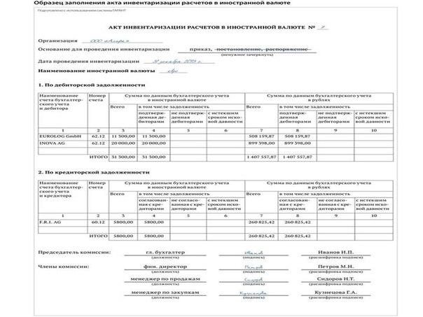 реестр представленных документов образец