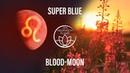 Full Moon in Leo -  Super Blue Blood Moon, Lunar Eclipse Meditation