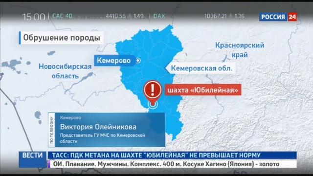 Новости на Россия 24 • Обрушилась кузбасская шахта Юбилейная