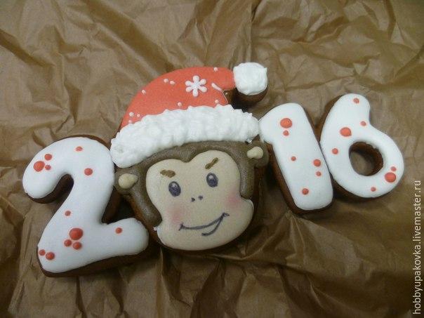 Делаем сами новогодний подарок пряник с обезьянкой… (9 фото)