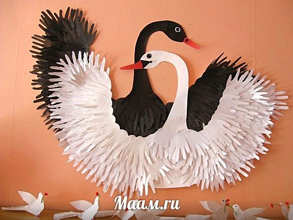 Открытка своими руками с лебедями 82