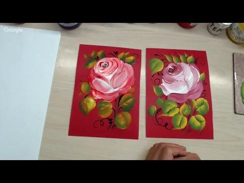 Рисуем розу в свободно-кистевой росписи. Тест красок