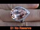 RARE 22 83 Carat Brazilian Morganite Diamond Ring Solid 14K Gold
