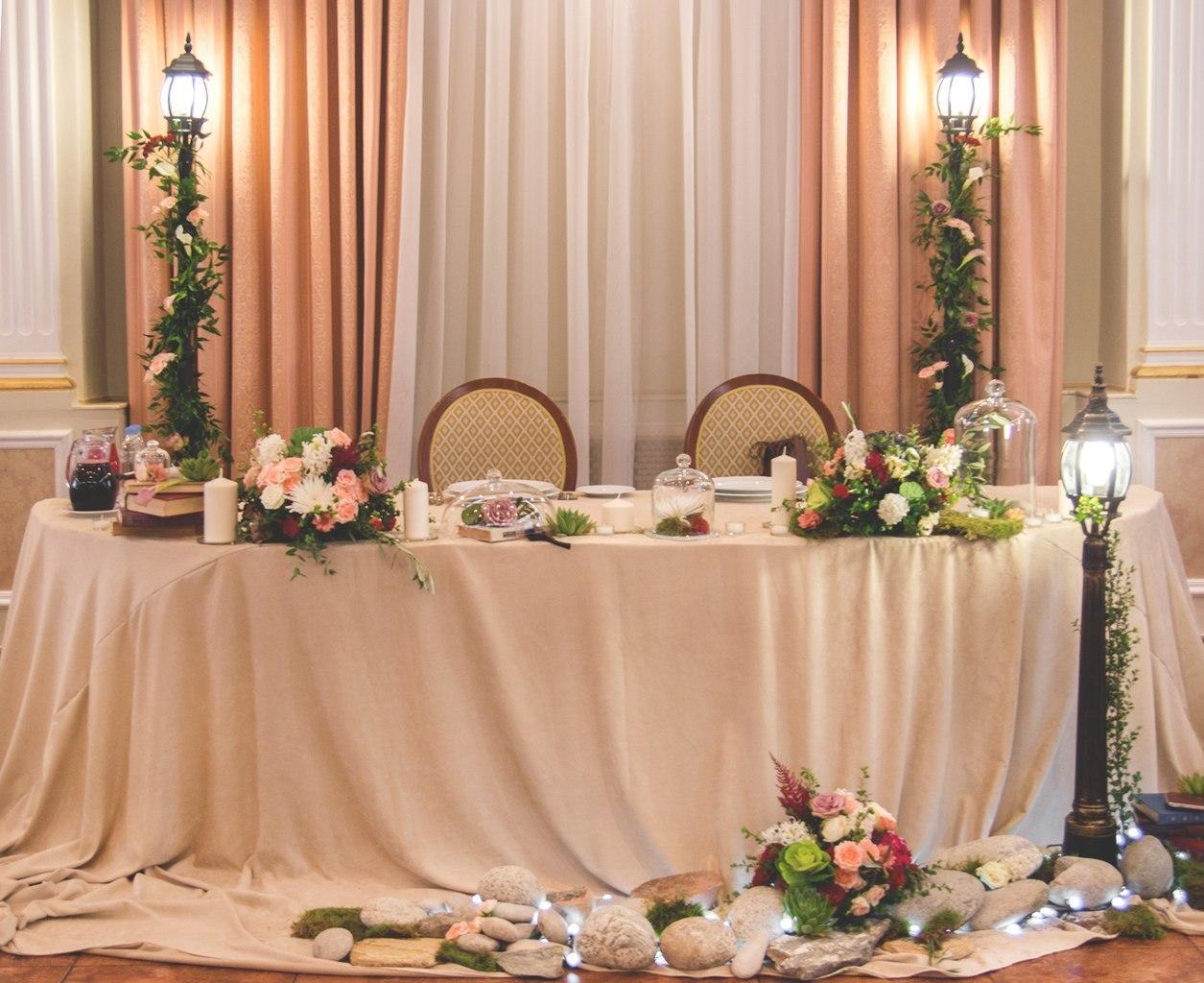 Украшение стола жениха и невесты в красном цвете фото