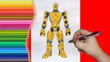 How to draw robot Gridlock, Real Steel, Как нарисовать робота Гридлок, Живая Сталь