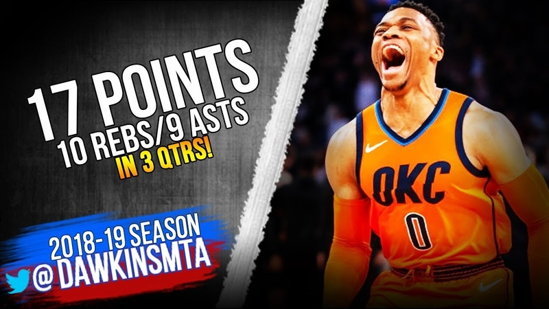 Russell Westbrook Full Highlights 2019.01.21 thunder vs Knicks - 17-10-9 in 3 QTRS! | FreeDawkins