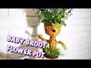 ГРУТ! 💖 Живой цветочный горшок из полимерной глины своими руками! 🌸
