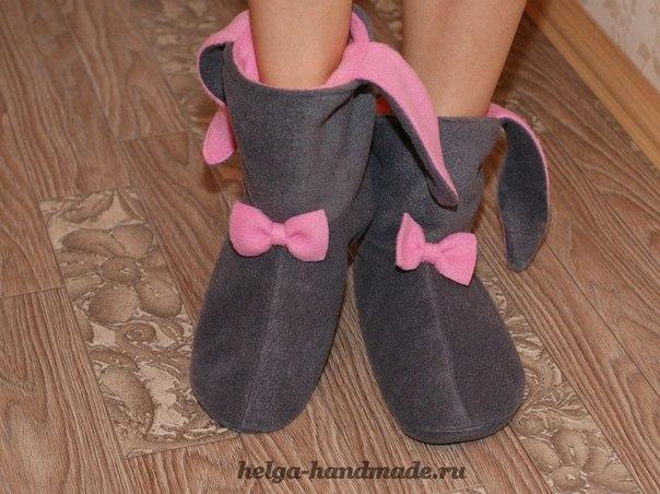 Шьем сами теплые и мягкие Тапочки-Зайчики основу обводим со своей ноги на бумагу …. (6 фото) - картинка