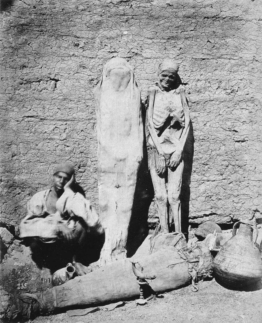 Уличный торговец продает мyмии, Египет, 1865 год