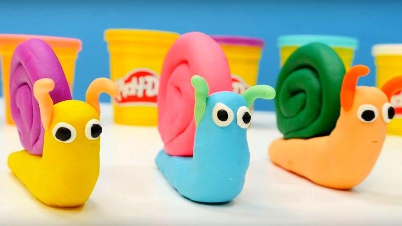 Wir kneten Schnecken aus Playdoh. Kindervideo auf Deutsch.